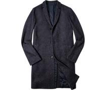 Herren Mantel Woll-Mix dunkelblau meliert blau,blau