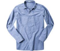 Herren Hemd Modern Fit Strukturgewebe jeansblau gemustert
