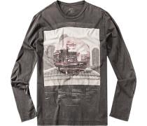 Herren T-Shirt Baumwolle anthrazit grau
