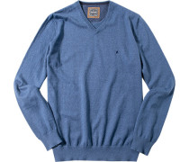 Herren Pullover Baumwoll-Kaschmir-Mix jeansblau