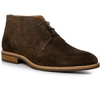 Schuhe Schnürstiefelette Veloursleder kaffeebraun