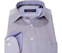 Herren Hemd Comfort Fit Strukturgewebe blau-grau meliert