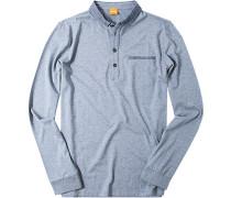 T-Shirt Longsleeve Baumwolle graublau meliert
