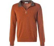 Pullover Troyer, Baumwolle, rotbraun