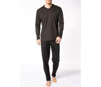 Herren Schlafanzug Pyjama Baumwolle dunkelbraun-beige