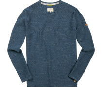 Pullover, Baumwolle, jeansblau meliert