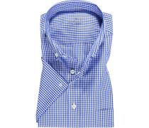 Hemd Comfort Fit Popeline marineblau-weiß kariert
