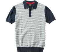 Herren Polo-Shirt Polo Slim Fit Baumwoll-Strick marine gemustert blau