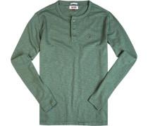 T-Shirt Longsleeve, Baumwolle, lindgrün meliert