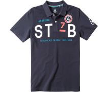 Polo-Shirt Baumwoll-Piqué navy gemustert