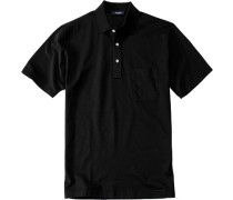 Herren Polo-Shirt Polo Baumwoll-Piqué schwarz