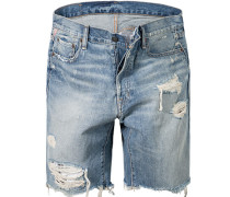 Bermudas Straight Fit Baumwoll-Denim jeansblau