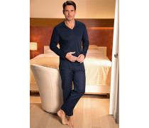 Herren Schlafanzug Pyjama Baumwolle navy kariert blau