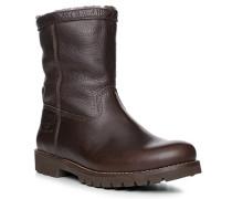 Schuhe Boot Leder Lammfell gefüttert dunkelbraun