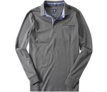 Herren Polo-Shirt Polo-Short Baumwoll-Jersey grau meliert