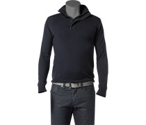 Pullover Troyer Merinowolle navy