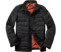 Herren Steppjacke Microfaser-Stretch isolierend schwarz schwarz,orange