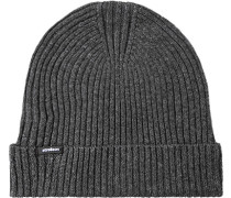 Mütze, Baumwolle-Wolle, dunkelgrau meliert