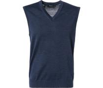 Pullover Pullunder Schurwolle nachtblau