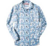 Hemd Classic Fit Popeline jeansblau gemustert