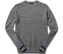 Pullover Baumwolle mittelgrau meliert