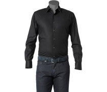 Herren Hemd Slim Fit Stretch-Popeline schwarz