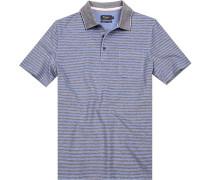 Polo-Shirt Polo Baumwoll-Pique grau- gestreift