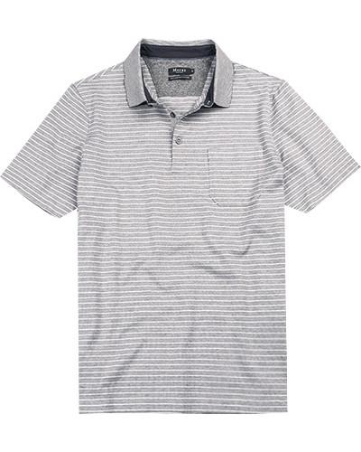 Polo-Shirt Polo, Baumwolle mercerisiert, hellgrau-weiß gestreift