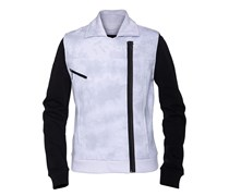 Moto Fleece Trainingsjacke weiß
