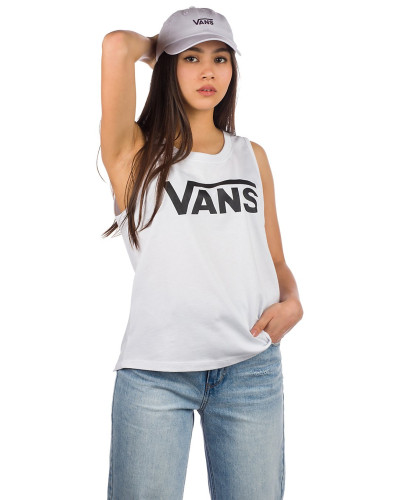 Flying V Muscle Scoop Tank Top white