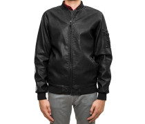Artificial Leather Bomber Jacke schwarz