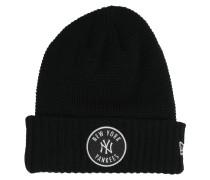 Emblem Waffle Knit Beanie schwarz