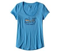 Live Simply Market Bike Scoop T-Shirt blau
