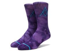 Triple Tie Dye Crew Socks purple