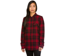 White Owl Flannel Shirt LS red dahlia