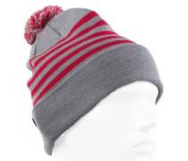 Merino Stripe Pom-Pom Beanie raspberry