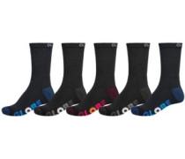 Multi Stripe Crew 5pk 7-11 Socks black