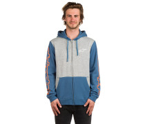Machine Fleece Kapuzenjacke grau