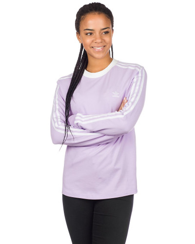 3 Stripe Long Sleeve T-Shirt purple glow