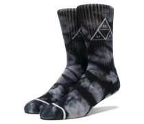 Triple Tie Dye Crew Socks black