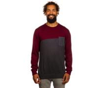 Block Flag Crew Knit Pullover maroon mel