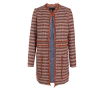 Baumwoll-mantel In Tweed-optik Mit Fransen-details