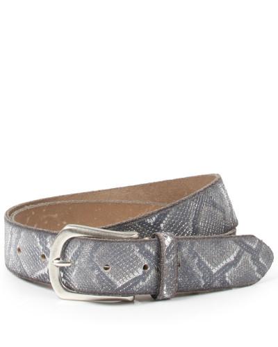Ledergürtel in Snake-Optik Grau/Beige Metallic