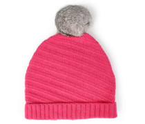 Wollmütze Mit Fellbommel Pink
