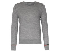 Merino-Pullover mit Schulter-Streifen Grey Melange