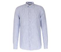 Gestreiftes Leinenhemd mit Button-Down-Kragen