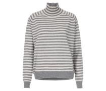 Cashmere-Pullover mit Rollkragen und Streifenmuster Ecru/Grau