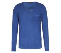 Baumwoll-pullover Mit V-neck Dunkelblau