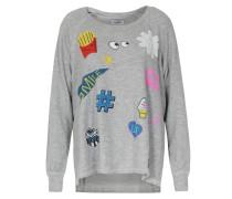 Sweater Amor Hello Smile mit Print Hellgrau