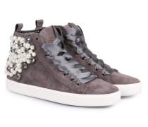 Veloursleder High Top Sneakers mit Schmuck-Details Mittelgrau